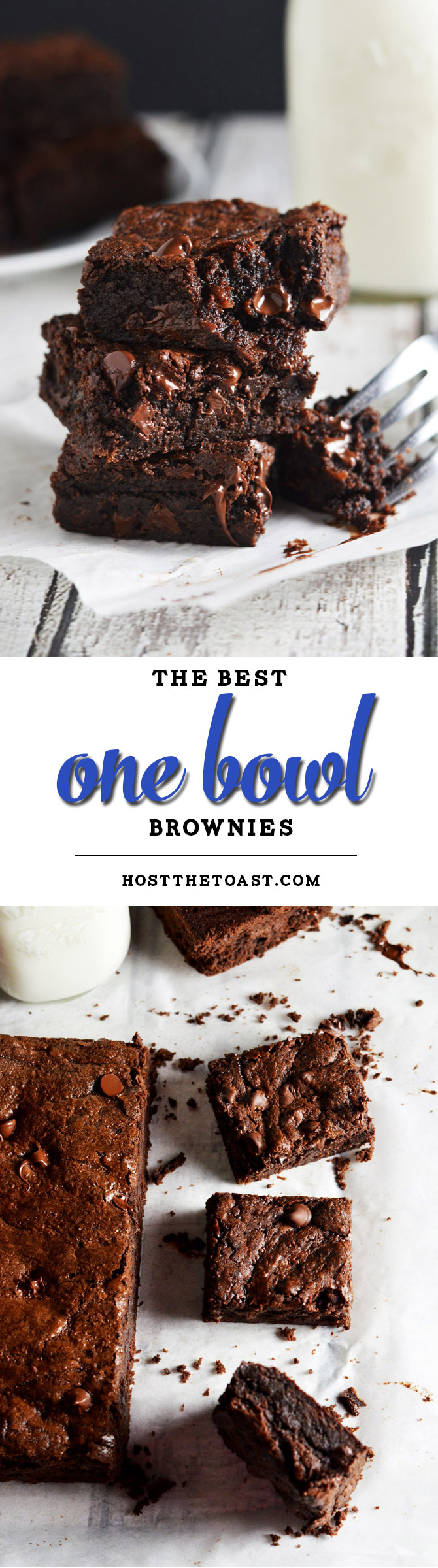 The Best One Bowl Brownies. These brownies will SERIOUSLY BLOW YOU AWAY. They don't require much more effort than the boxed stuff but they taste so much better! I'm in love with them. | hostthetoast.com