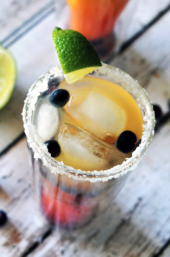 Blueberry Pineapple Margaritas. A great, fruit-flavored cocktail that's perfect for girls' nights or Cinco de Mayo!   hostthetoast.com