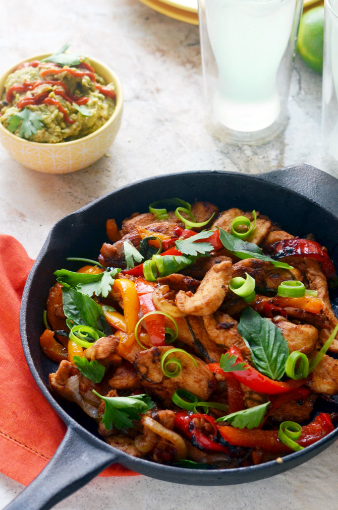 Thai Chicken Fajitas. A delicious marinade and Thai basil gives a new twist to the TexMex favorite. | hostthetoast.com