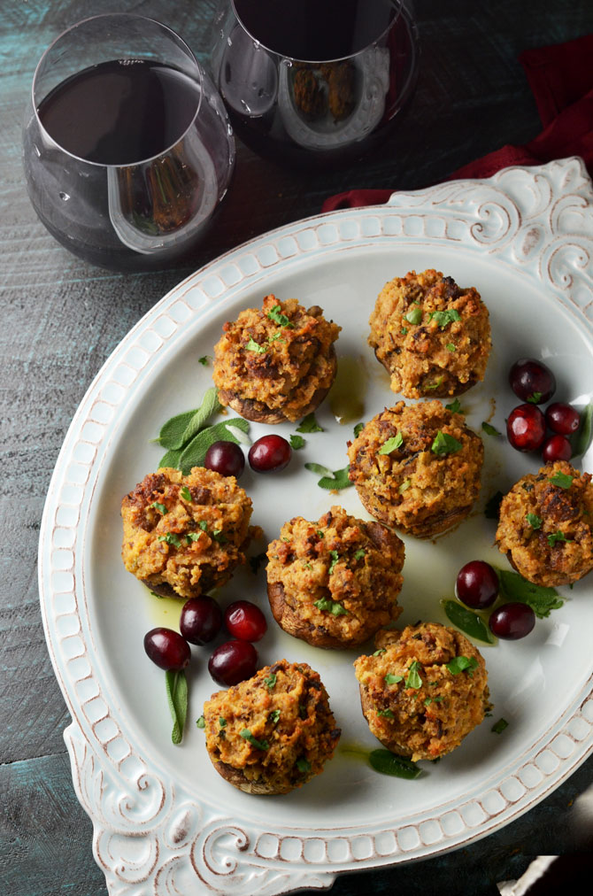 Stuffing Stuffed Mushrooms. These mushrooms are filled with a cornbread and breakfast sausage stuffing that is SO flavorful you can't help but scarf these down. Great for Thanksgiving or any occasion when you need a delicious appetizer. Can be made ahead, to boot!   hostthetoast.com