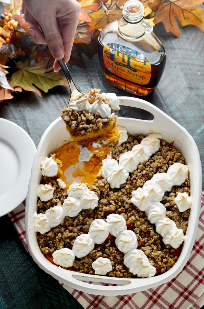 Ultimate Sweet Potato Casserole. Rich and sweet but not overwhelming, this sweet potato casserole features roasted sweet potatoes, maple syrup, pecan streusel, and easy marshmallow meringue. It's a new Thanksgiving favorite for my family! | hostthetoast.com