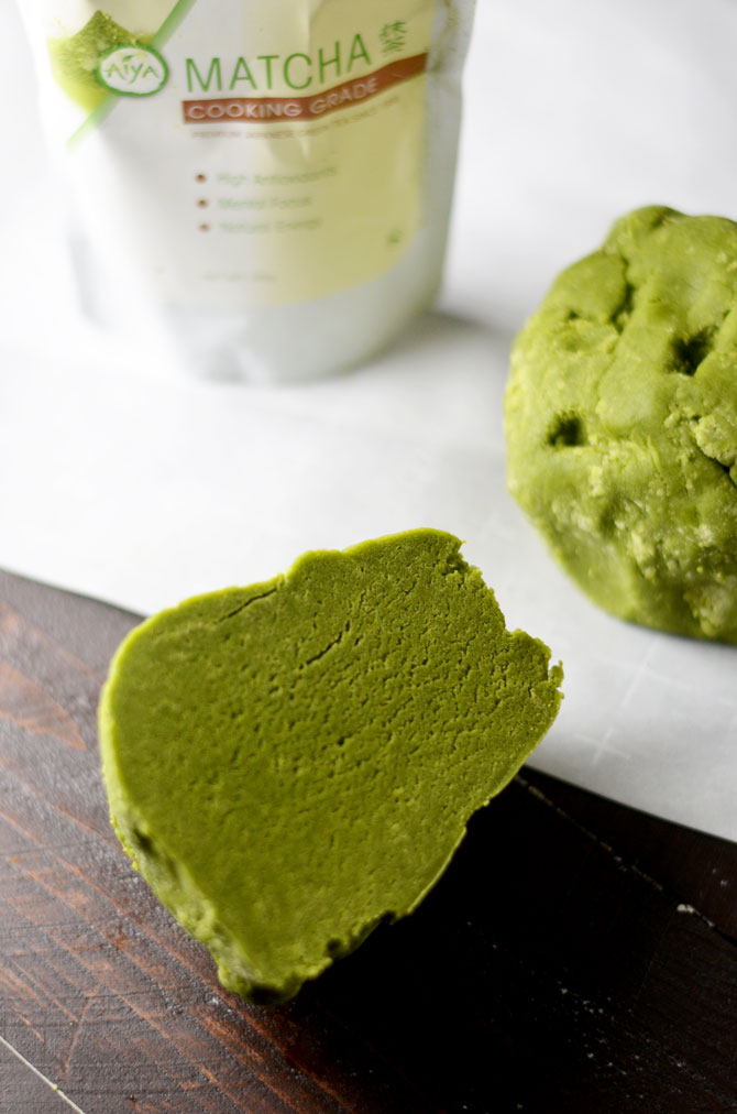 Matcha Cookie Christmas Tree Stacks. Buttery, sugary matcha green tea cookies make delicious Christmas gifts. Stack 'em up, sprinkle with powdered sugar, place an almond on top, and wrap them up in cellophane before passing them out as presents. | hostthetoast.com