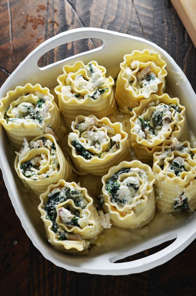 White Chicken Lasagna Roll Ups. Shredded chicken, spinach, and three cheeses, rolled in lasagna noodles and baked in a garlicky, cheesy white sauce. | hostthetoast.com