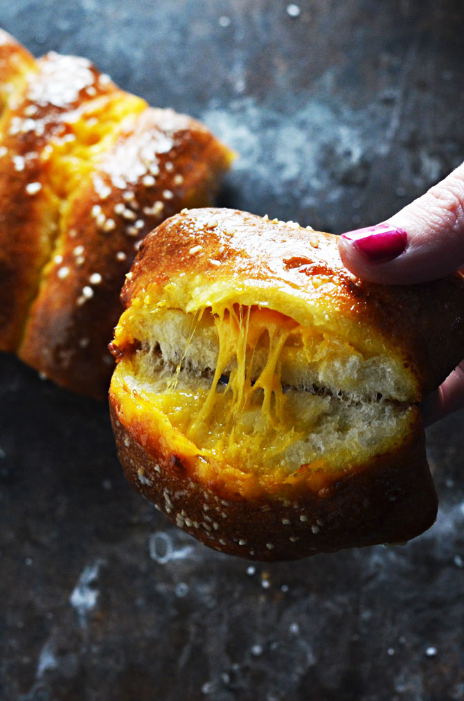 Easy Cheesy Pretzel Sticks. This cheese-stuffed soft pretzel recipe is as simple as it gets-- 5 ingredients, premade dough, and it comes together in no time! Not to mention, they're insanely delicious. There's even a how-to video! | hostthetoast.com