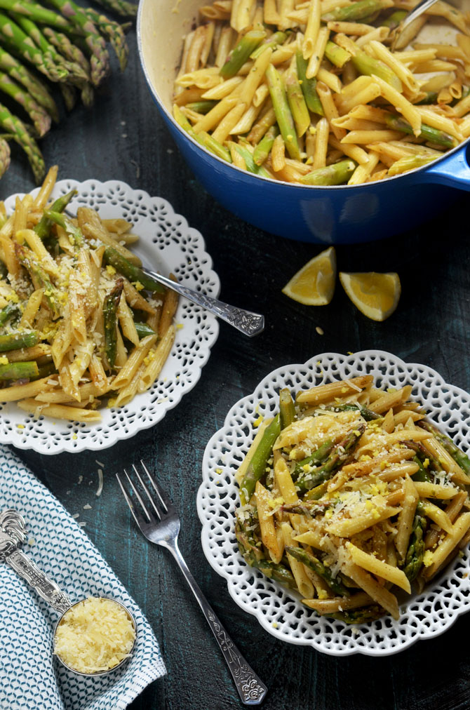 Lemony Brown Butter Asparagus Penne. A simple pasta dish with bright and vibrant spring flavors. | hostthetoast.com