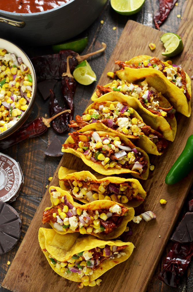 Crunchy Mexican BBQ Sauced Chicken Tacos with Charred Corn Relish. These tacos are sweet, tangy, and slightly spicy. But it's a secret ingredient in the Mexican BBQ sauce that makes them perfect. | hostthetoast.com