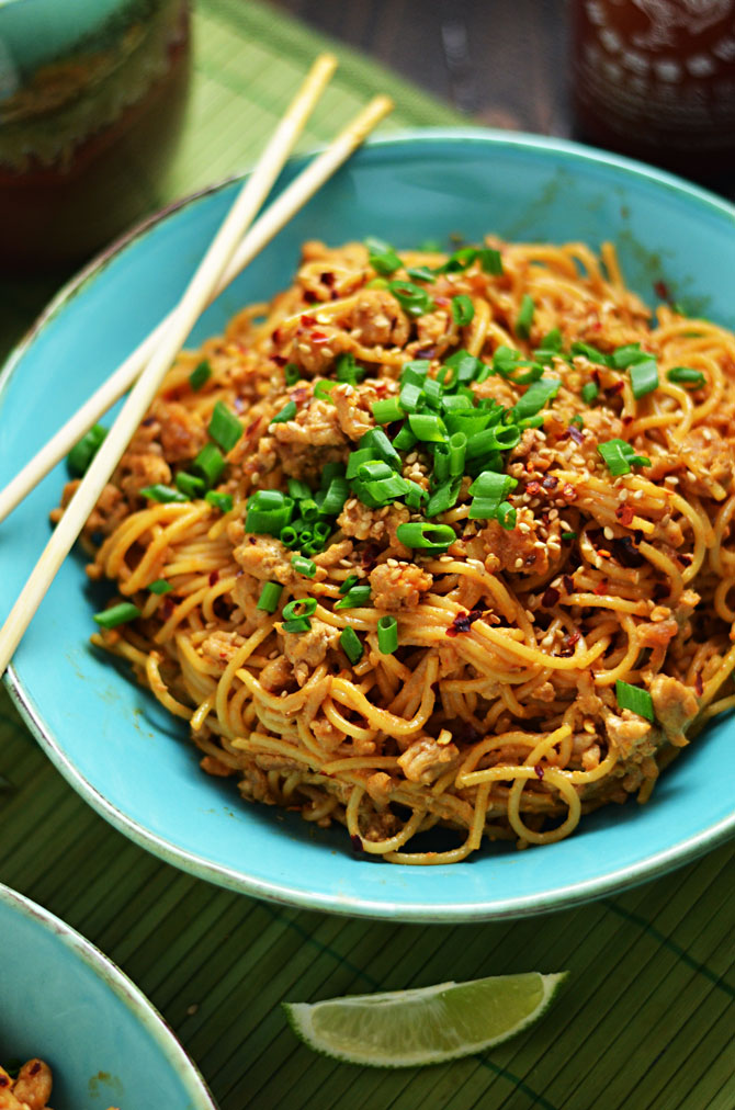 Spicy Sesame Chili Noodles With Chicken Host The Toast