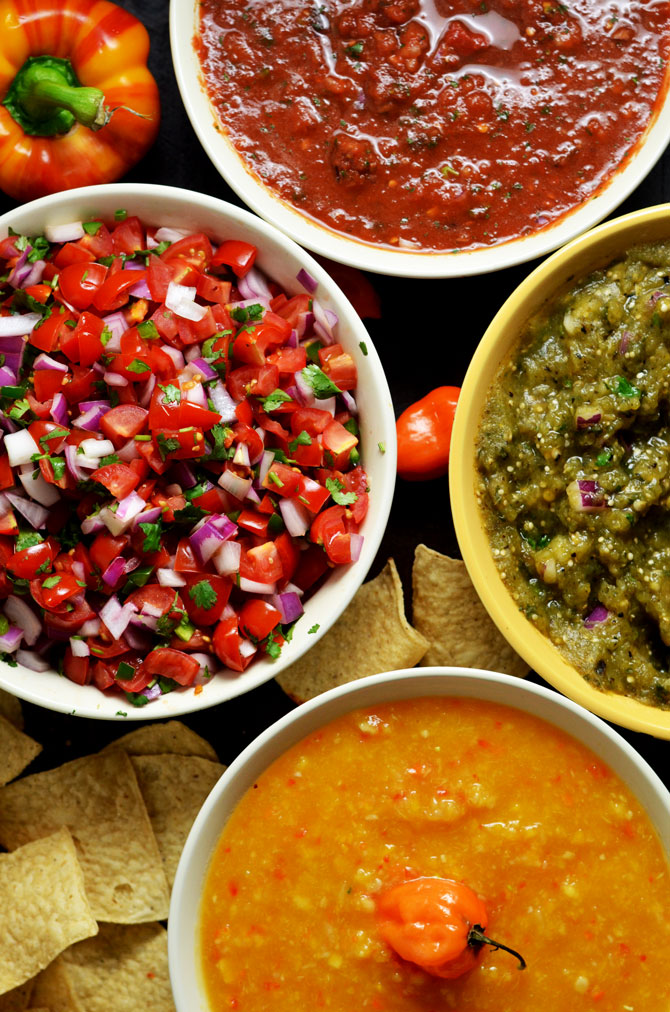 4 Must-Make Salsas: Pico de Gallo, Spicy Salsa Verde, Chipotle-Tomato Salsa, and my personal favorite, Peach-Habanero Salsa. My friends always beg for these recipes, so I finally decided to share them. | hostthetoast.com