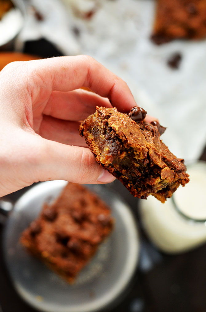 Peanut Butter Chocolate Chickpea Bars. These dessert bars have a crackly, brownie-like crust with a fudgy-textured center. They're also gluten free, easy to make, high in protein, and easily adaptable to be vegan-friendly. Wins all around. | hostthetoast.com