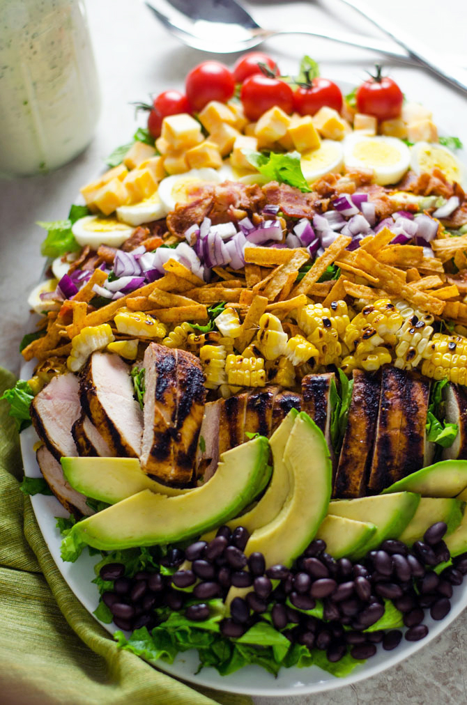 Southwestern Cobb Salad with Jalapeño Buttermilk Ranch. A spiced-up twist on the classic cobb, and one of my favorite all-time salads. | hostthetoast.com
