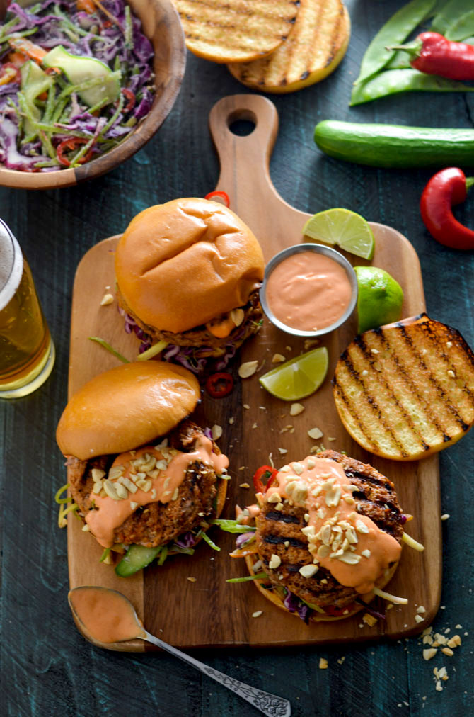 Thai Curry Turkey Burgers with Spicy Mayo and Coconut-Lime Slaw. Give up bland turkey burgers forever-- a little Thai curry paste makes all the difference in these flavor-packed patties. | hostthetoast.com