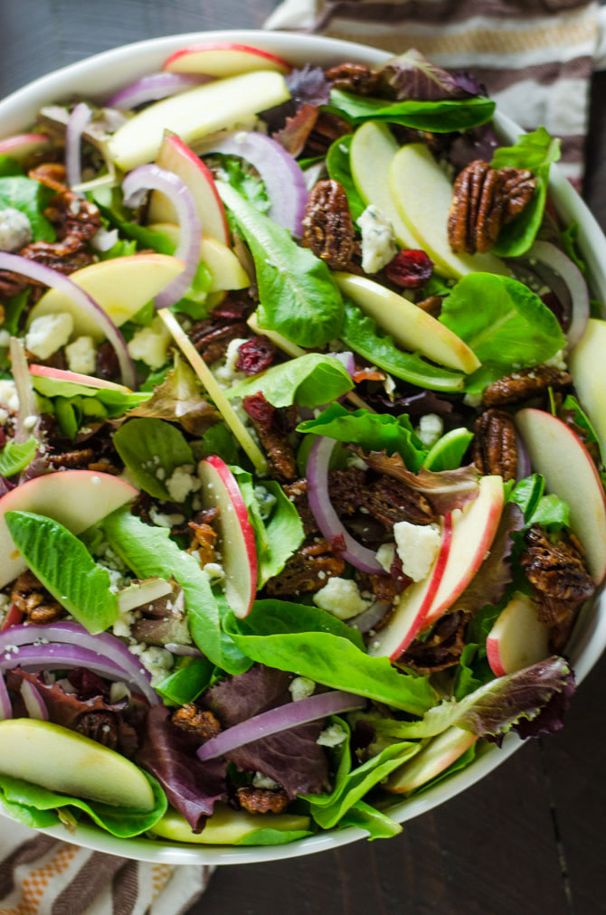 Honey Crisp Apple Salad with Cider Vinaigrette. Baby romaine greens, honey crisp apples, smoky bacon, candied pecans, gorgonzola crumbles, dried cranberries, and red onion pack this salad with bold flavor! Not to mention the homemade cider vinaigrette makes the whole thing taste so perfectly Fall-worthy. | hostthetoast.com