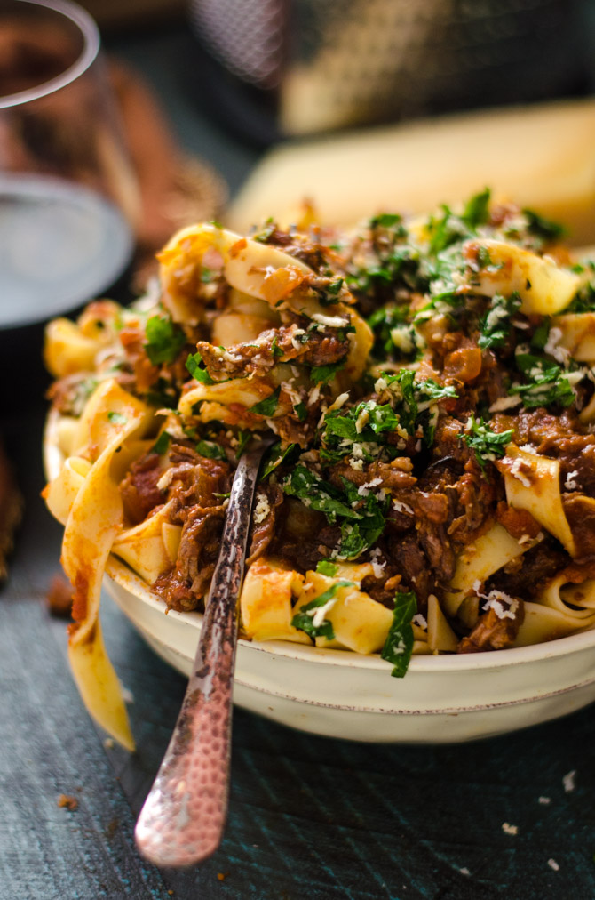 Slow Cooker Short Rib Ragu with Horseradish Gremolata. You'd be hard-pressed to find a more delicious ragu than this recipe. Hearty, bold, and ultra-comforting, it will become a slow cooker staple for the chilly season! | hostthetoast.com
