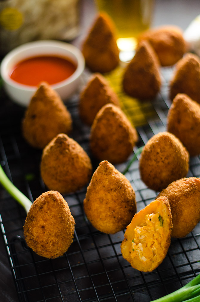 Buffalo Chicken & Ranch Potato Croquettes. These game day appetizers pack all of your favorite flavors into little grabbable packages. | hostthetoast.com