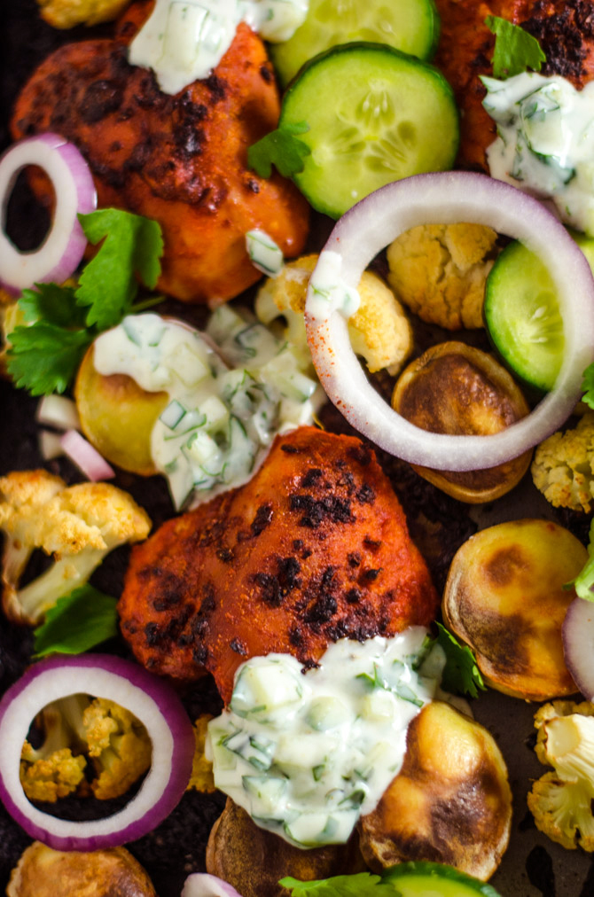 Sheet Pan Tandoori Chicken and Vegetables. This Indian-inspired recipe creates a full, delicious dinner with very little effort.   hostthetoast.com