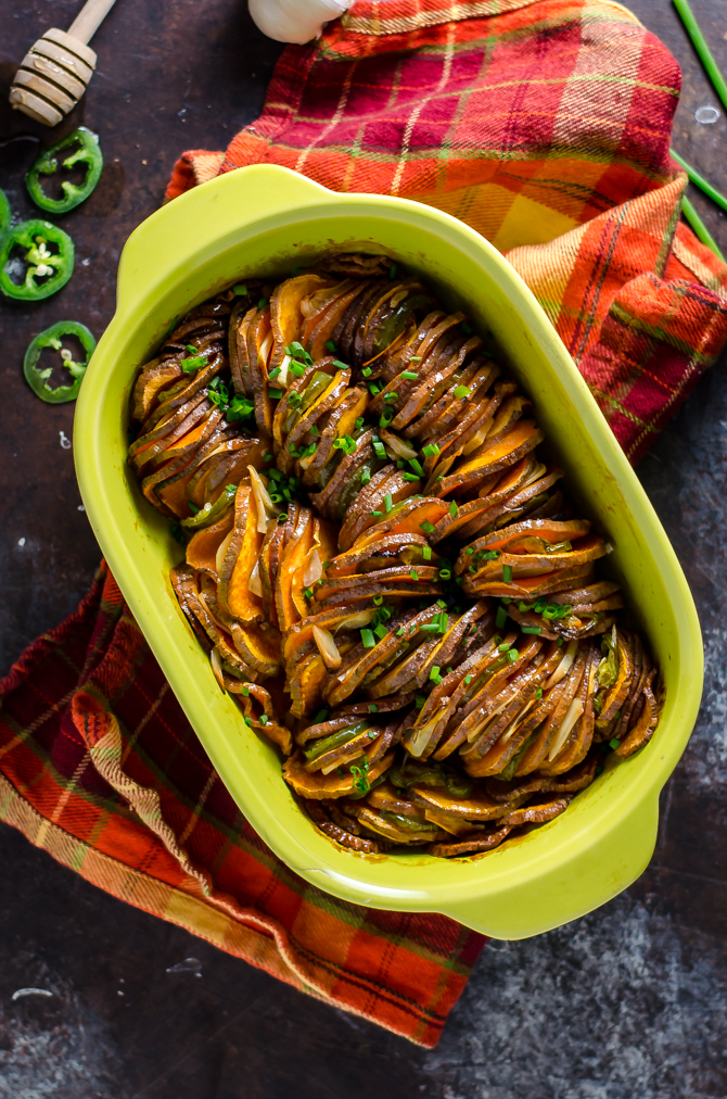 Hot Honey Garlic Sweet Potato Bake. Jalapenos, garlic, honey, and butter flavor this delicious and simple-to-make side dish. | hostthetoast.com