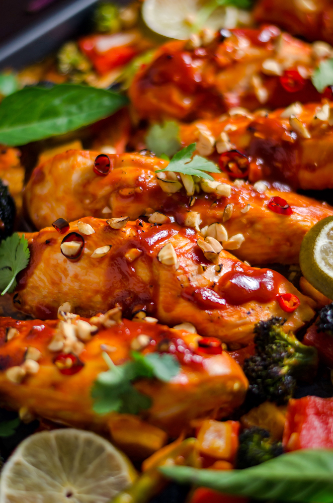 Sheet Pan Thai Peanut-Chili Chicken. This sweet and spicy glazed chicken and vegetable dish is a cinch to make for a weeknight dinner! | hostthetoast.com