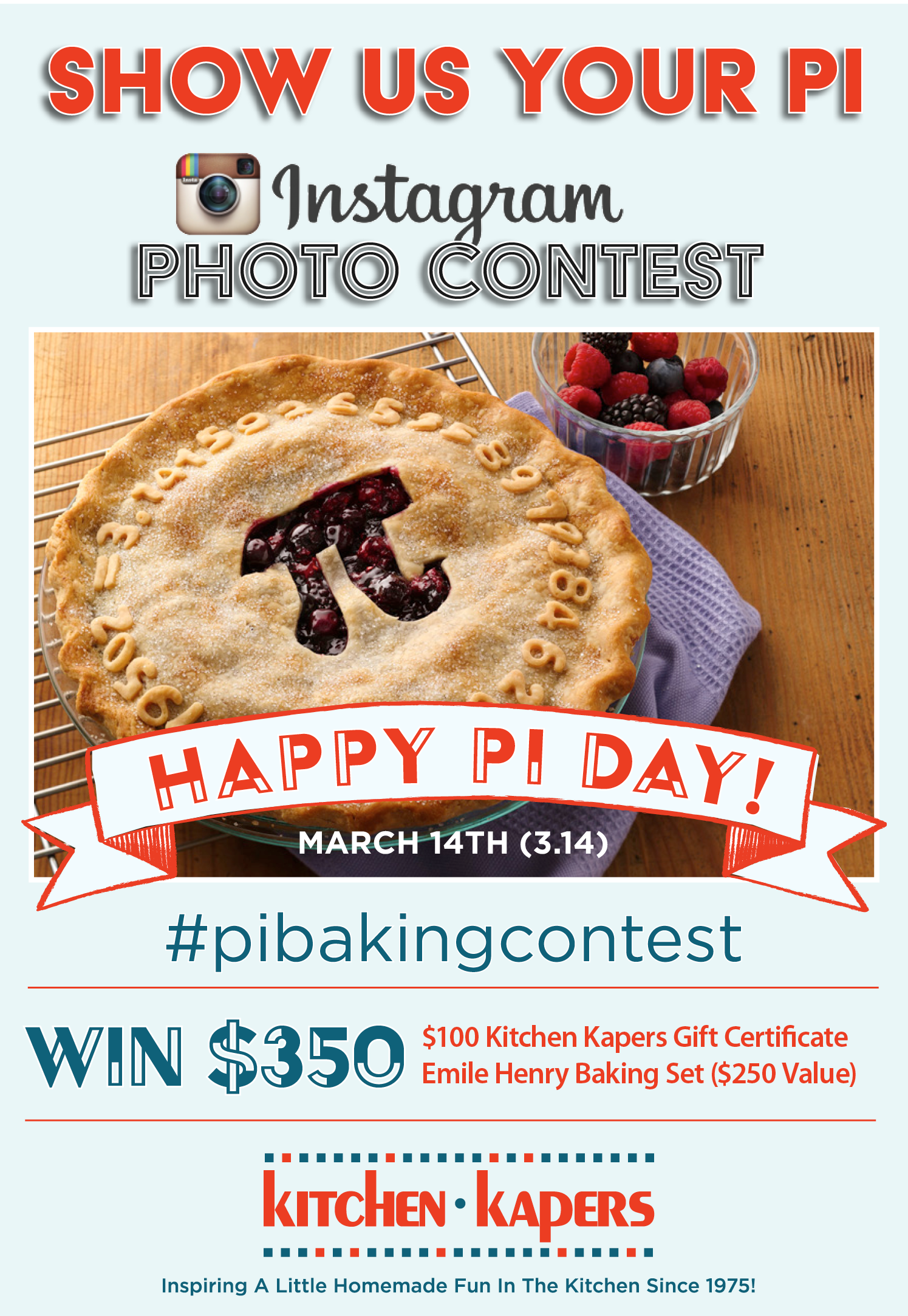 PiBakingContest Instagram Contest! Enter now through 3.14.17