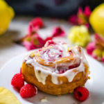 Overnight Raspberry Sweet Rolls with Lemon Cream Cheese Glaze