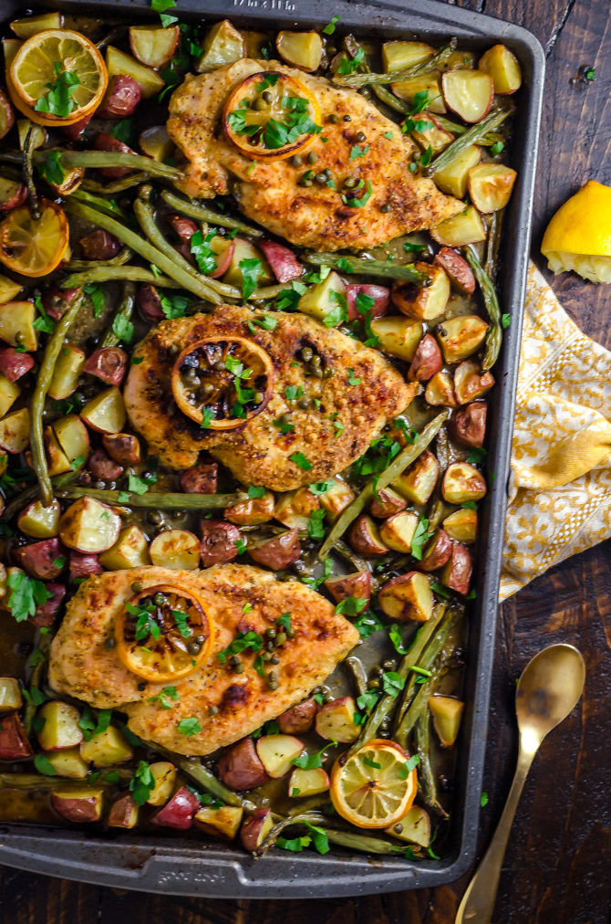 Sheet Pan Chicken Piccata with Roasted Potatoes and Green Beans. This easy, lemony one-pan recipe makes a great weeknight dinner.   hostthetoast.com