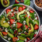 Strawberry Avocado Spinach Salad with Greek Yogurt Poppy Seed Dressing