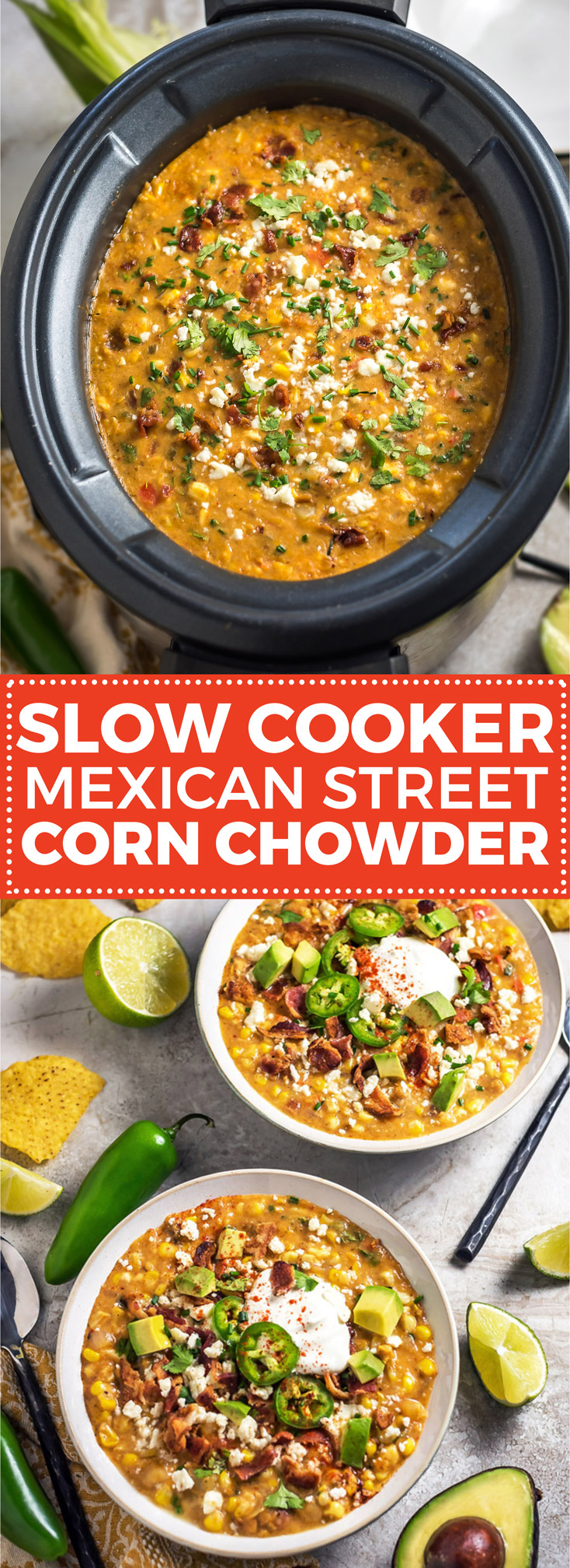 Slow Cooker Mexican Street Corn Chowder. This soup is loaded up with smoky, tangy, spicy, and salty flavors-- you're never going to want regular ol' corn chowder again. | hostthetoast.com
