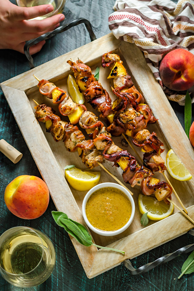 Grilled Chicken & Peach Saltimbocca Skewers. Sweet, salty, meaty, tart, and earthy flavors all come together in this summery spin on the classic saltimbocca. | hostthetoast.com