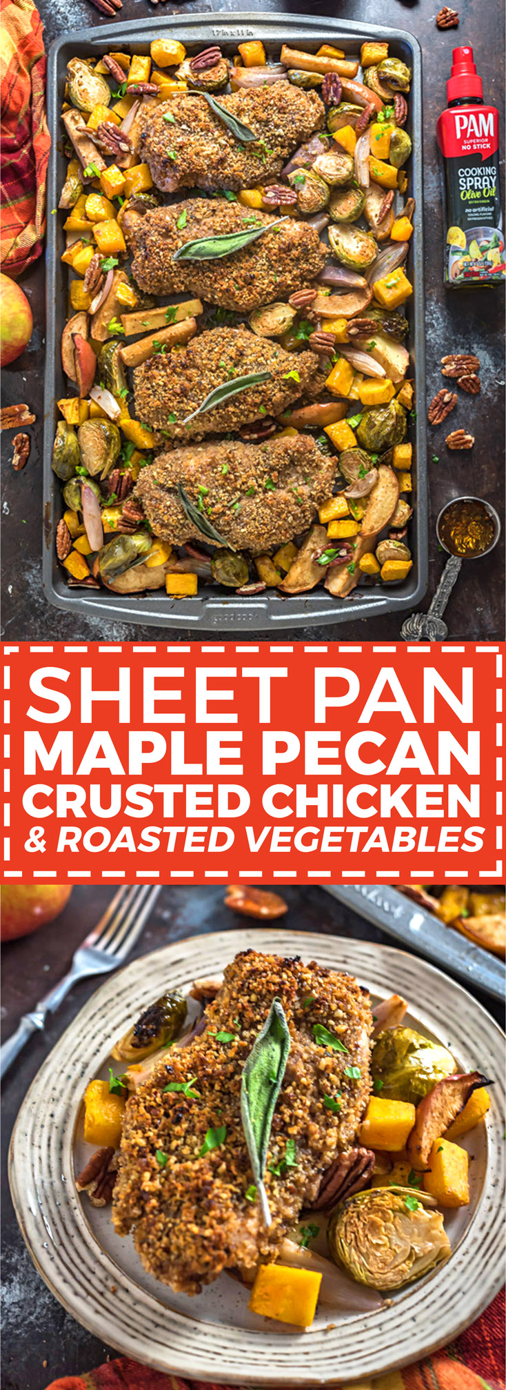 Sheet Pan Maple Pecan Crusted Chicken & Roasted Vegetables. 🍂 Want the flavors of fall in your dinner or meal plan dish? Loaded up with pecans, maple syrup, balsamic vinegar, Dijon mustard, sage, & fall veggies, this baked recipe will have you tasting autumn in every bite. | hostthetoast.com