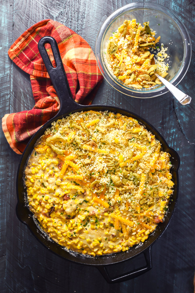 Bacon Jalapeño Popper Creamed Corn Gratin. This cheesy, spicy, creamy, and crispy-topped side dish will steal the show at your Thanksgiving feast. | hostthetoast.com