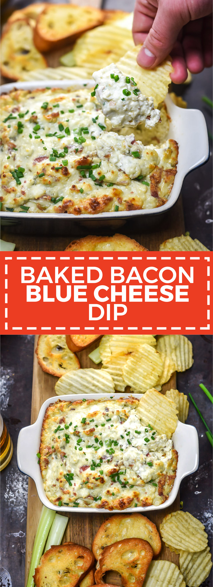 Baked Bacon Blue Cheese Dip. This tangy, creamy, rich, and savory dip requires only 6 ingredients for a warm and cheesy addition to your appetizer spread. | hostthetoast.com