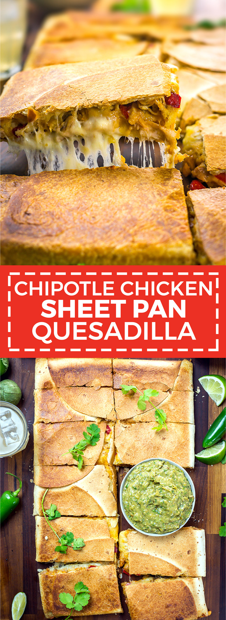 Chipotle Chicken Sheet Pan Quesadilla with Avocado Salsa Verde. This is how you make Mexican appetizers for a crowd. Cheesy, meaty, smoky, and oh-so-cheesy. | hostthetoast.com