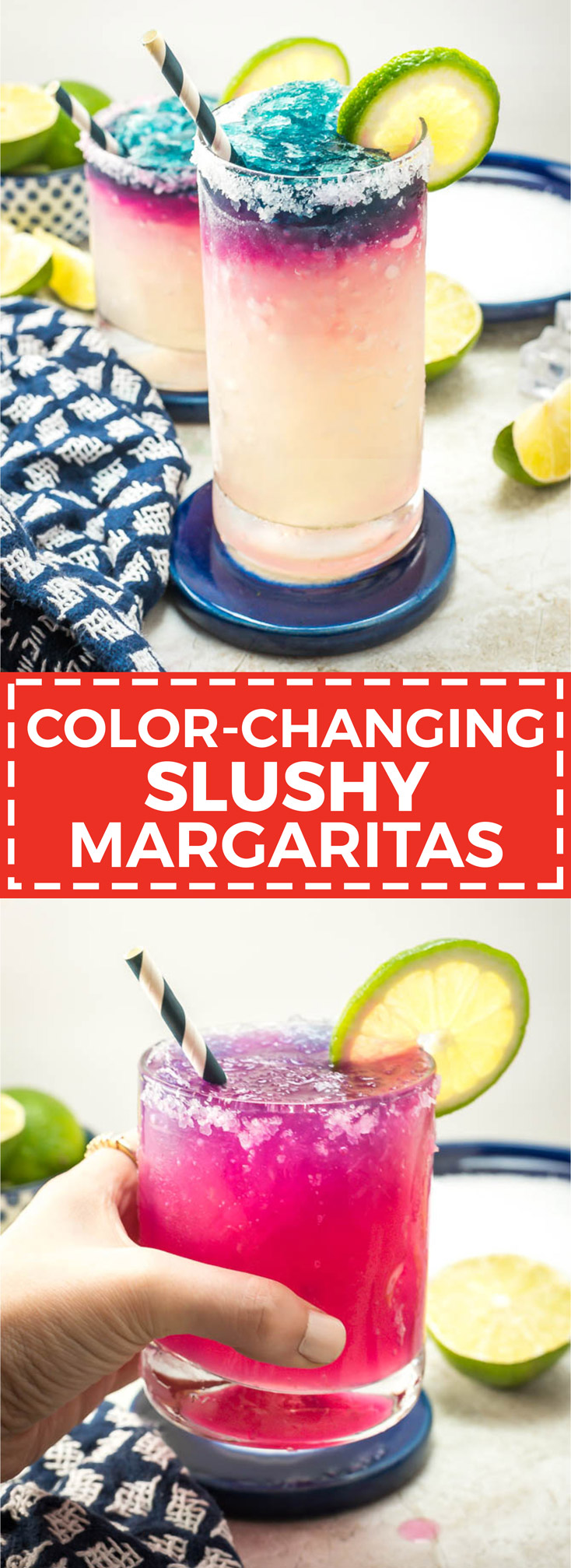 Color-Changing Slushy Margaritas. This recipe uses a secret ingredient to create color-changing blue ice. It's also perfectly slushy with no blender required! | hostthetoast.com