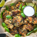 Spinach and Artichoke Dip Chicken Fritters