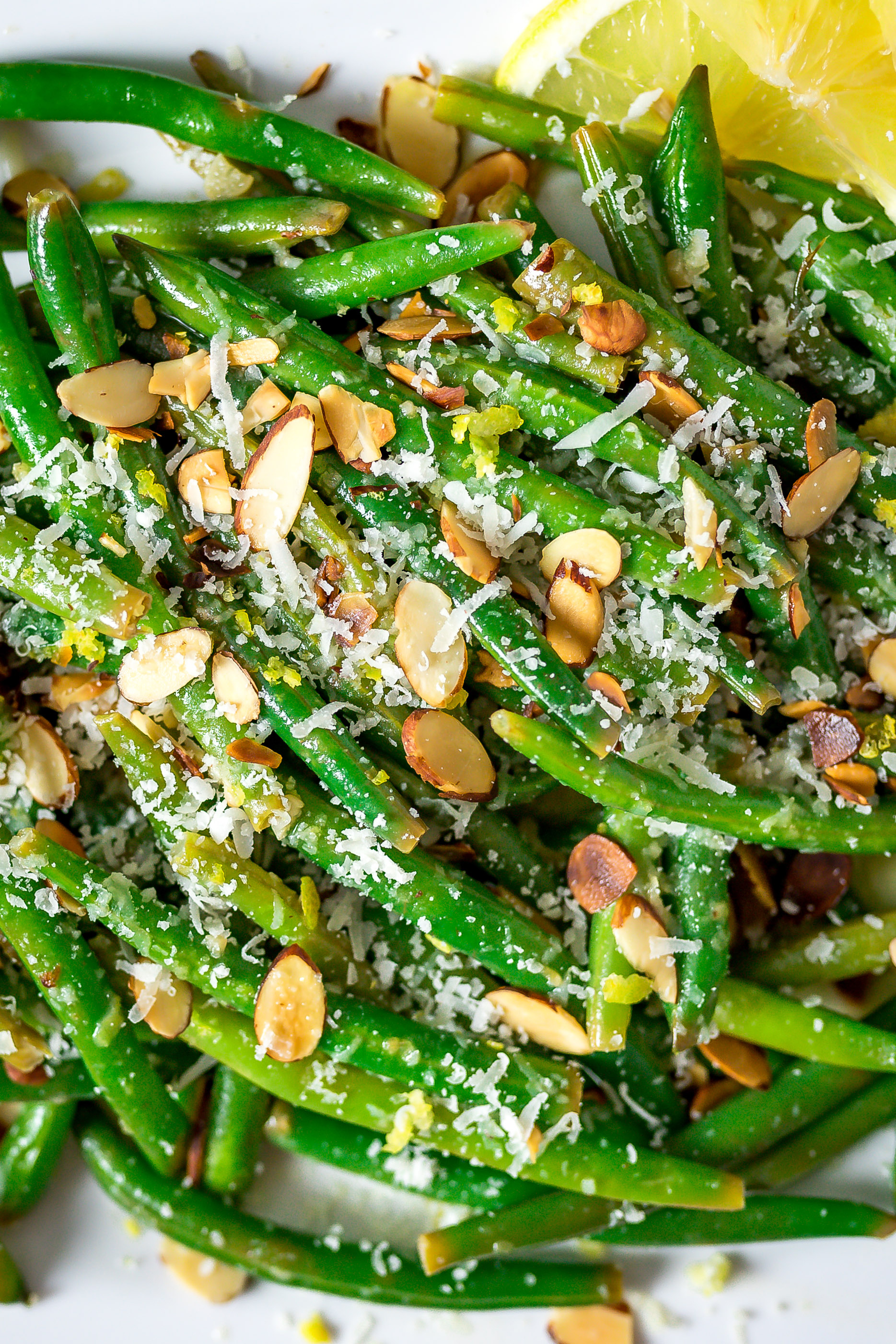 A close-up picture of Browned Butter Lemon-Garlic Green Beans.