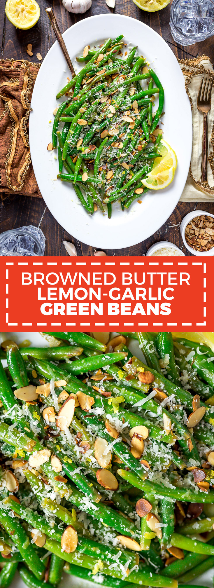 Browned Butter Lemon-Garlic Green Beans. Green beans take on a deep, nutty flavor from toasted almonds, browned butter, and grated parmesan cheese. Lemon juice adds a little brightness to balance out the rich butter sauce, and plenty of garlic will make these green beans the highlight of your dinner. | hostthetoast.com