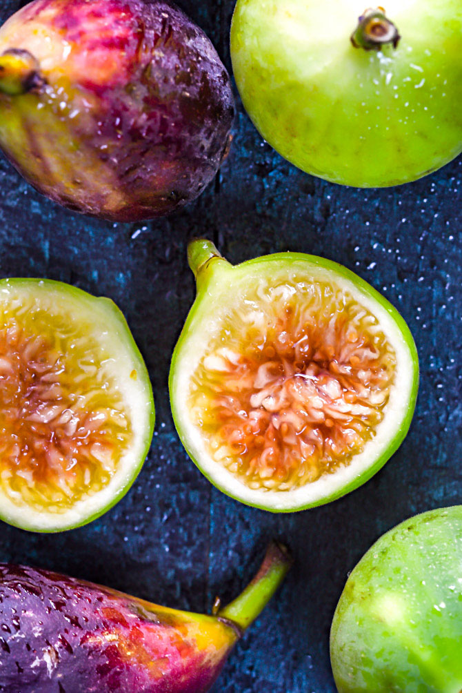 A close up shot of ripe fresh figs.