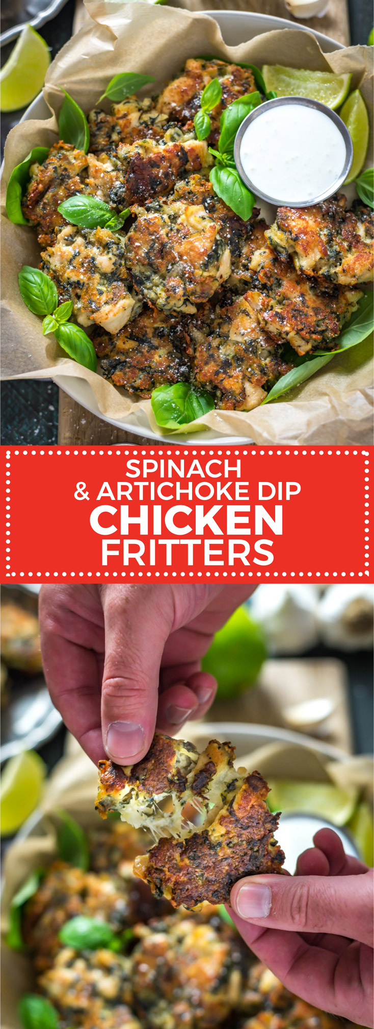 Spinach and Artichoke Dip Chicken Fritters. These fritters are going to be your new favorite way to use chicken breasts. They're tender and juicy on the inside with plenty of melted cheese and a crisp crust, and they taste just like your favorite dip!| hostthetoast.com