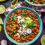 Sweet Potato Chorizo Chili with Poblano-Avocado Crema