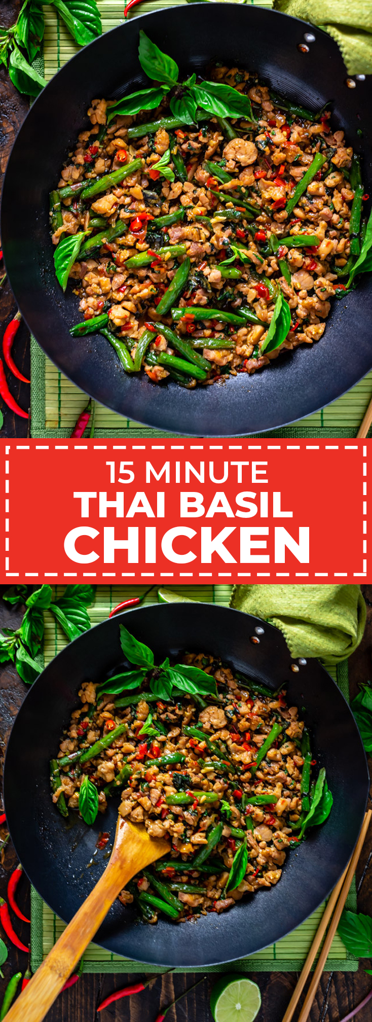 15 Minute Thai Basil Chicken. When it comes to Thai recipes, this stir fry is one of the most popular and easiest to make. It's flavorful, fast, and is going to become one of your favorite quick dinners. | hostthetoast.com