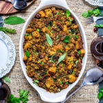 The Best Cornbread Stuffing with Sausage and Bacon