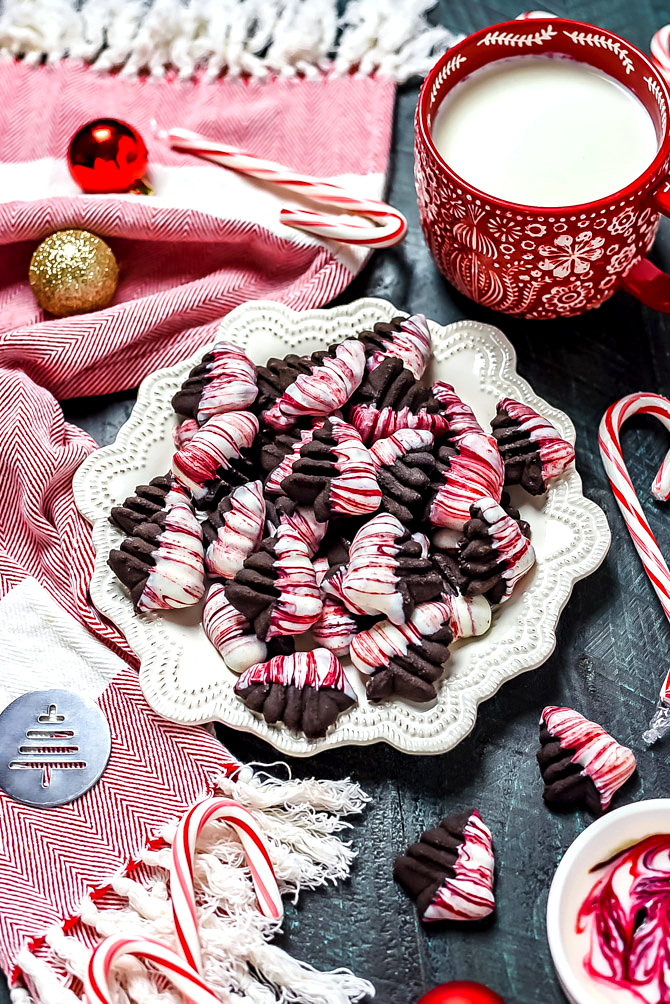 Marbled Dark Chocolate Peppermint Spritz Cookies