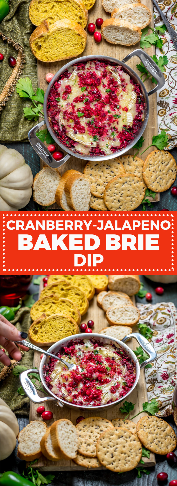 Cranberry-Jalapeno Baked Brie Dip. Tart cranberries, spicy jalapenos, and brown sugar transform brie cheese into a hit party dip. | hostthetoast.com