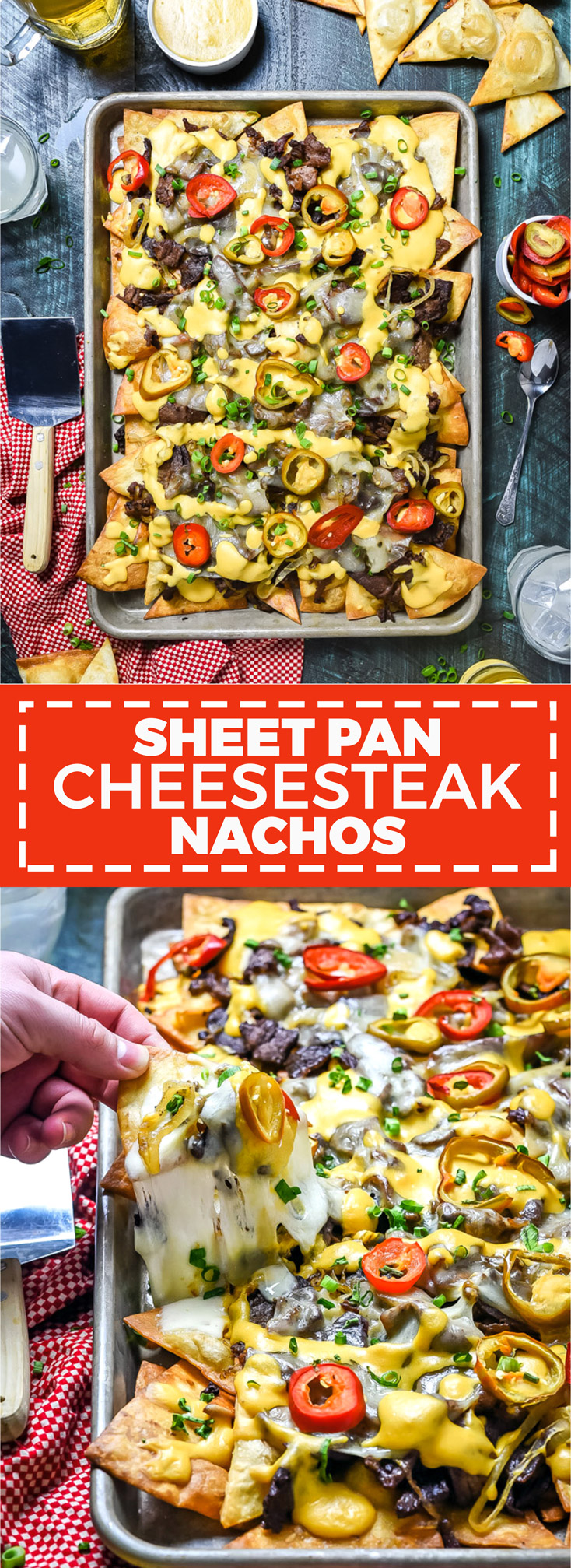 Sheet Pan Cheesesteak Nachos. Inspired by Philadelphia's most well-known sandwich, these nachos feature flour tortilla chips, thinly shaved steak, sauteed onions, hot cherry peppers, provolone cheese, and cheese sauce. | hostthetoast.com