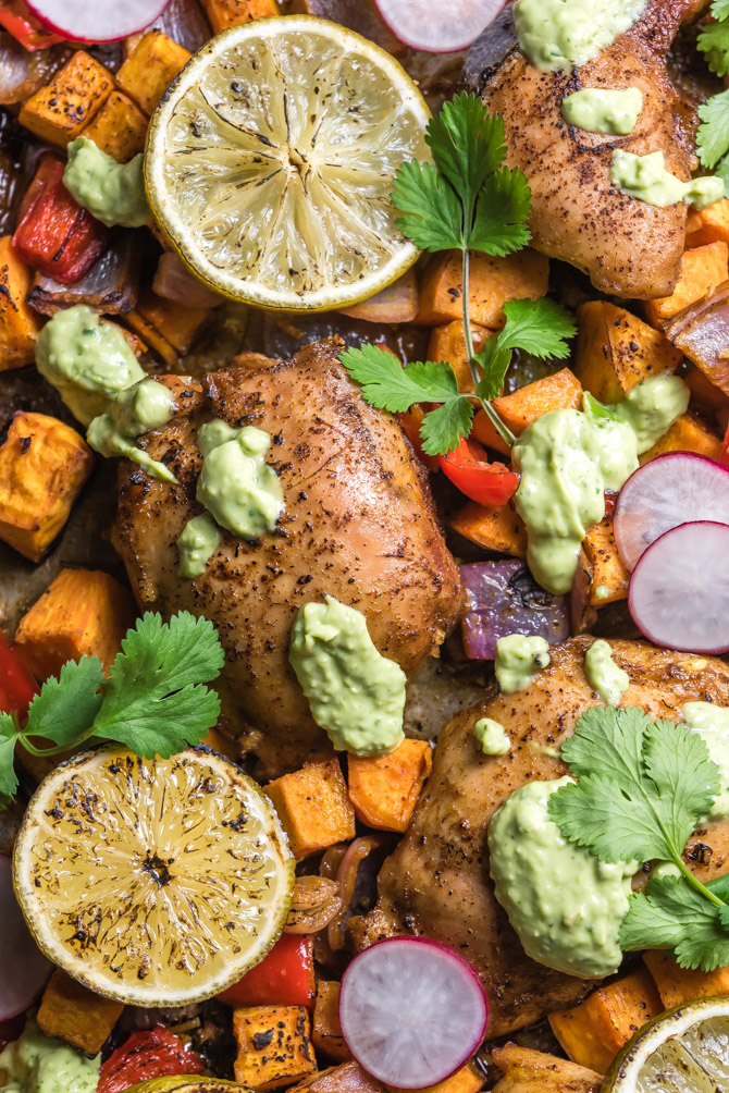 Sheet Pan Chili-Lime Chicken and Sweet Potatoes. Juicy chicken thighs, tender chunks of sweet potato, onion, and bell pepper are all tossed in a spicy, sweet, and citrusy marinade before baking all together for a one pan,healthy recipe.   hostthetoast.com