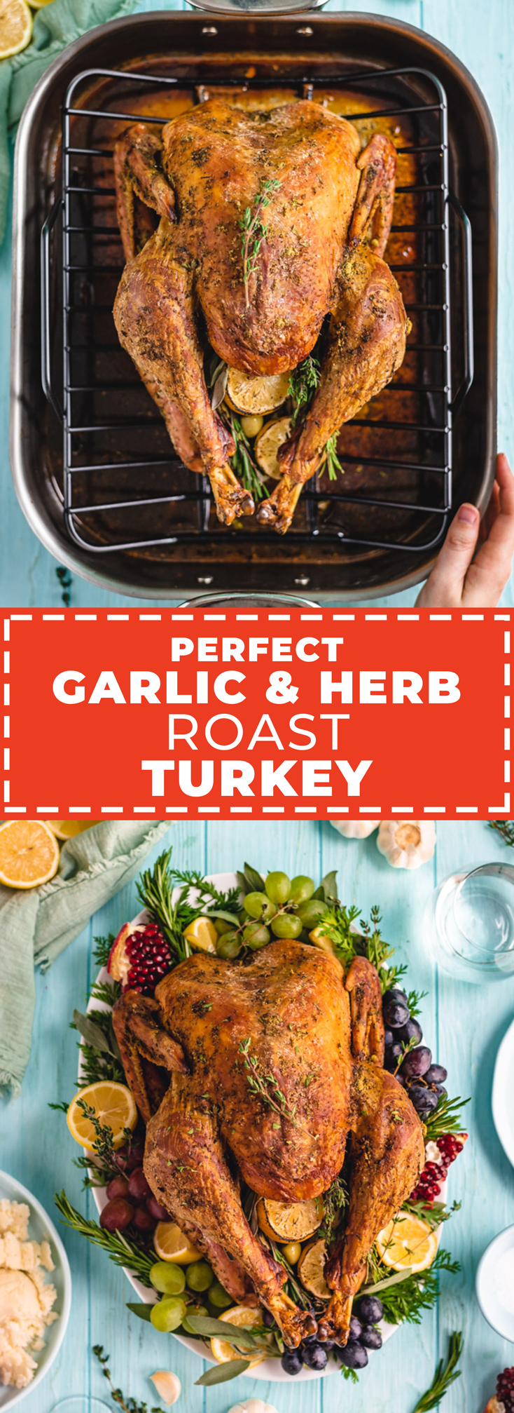 This Perfect Garlic and Herb Roast Turkey recipe is engineered for perfection. Three simple tricks guarantee juicy meat, tons of flavor, and ridiculously crispy skin for a Thanksgiving turkey that's easy as pie. | hostthetoast.com