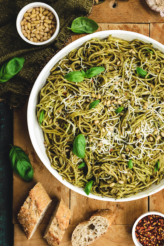Pesto Pasta is one of those restaurant-worthy recipes that couldn't be faster or easier to whip up at home. But it also takes a tiny bit of know-how to do it the right way. Learn how to get the perfect coating of pesto to cling to your pasta without resorting to excessive amounts of oil or a separated sauce. The secret to perfect Pesto Pasta is simpler than you'd think!
